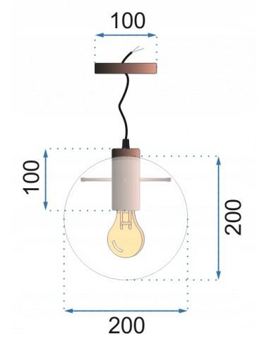 Lampa Wisząca Szklana Kula Lassi 20 cm