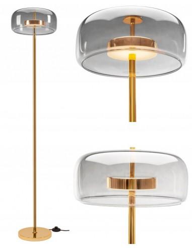 Lampa Stojąca Podłogowa Szklana Grey LED